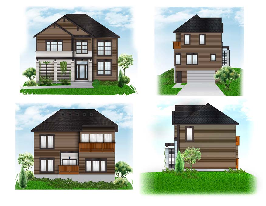 4 views of a home